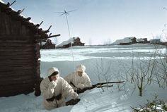 Two Soviet soldiers radio back to their regiment's headquarters during the Battle of Moscow. 1 December, 1941. The Soviet Union lost 650,000-1,280,000 troops defending Moscow alone.