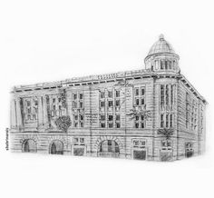 The sketch of an abandoned building in Kota Tua Jakarta