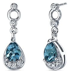 London Blue Topaz Dangle Earrings in Sterling Silver Rhodium Nickel Finish 150 Carats Total Weight * To view further for this item, visit the image link.