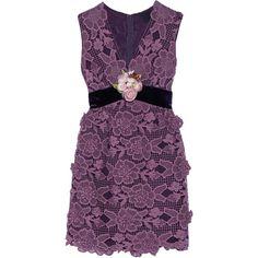 Anna Sui Camilla velvet-trimmed crocheted lace mini dress (£765) ❤ liked on Polyvore featuring dresses, plum, applique dress, short dresses, retro mini dress, velvet dress and retro dresses