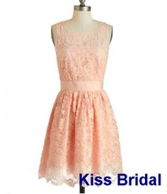 You can have this made in mint or poppy red! Love it!- Lace knee length dress by kissbridal, $75.00