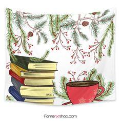 Tea and books winter Tapestry  #tapestry #wallart #homedecor #interiordesign #tumblr #tea #books #winter