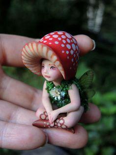 Tiny Woodland Mushroom Fairy by Celia Anne Harris OOAK - Made to Order