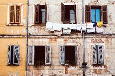 Rovinj , Croatia Travel Photography, Street Photography, Alley, Windows, Laundry, Fine Art Photo, Large Wall Art, Travel Photography by 5050TravelogArt on Etsy