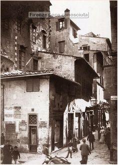 FIRENZE SCOMPARSA: Via Porta Rossa angolo via Por Santa Maria, antecedente al 1865.