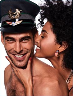 All smiles, Jon Kortajarena charms in a Vogue Japan picture with Imaan Hammam.