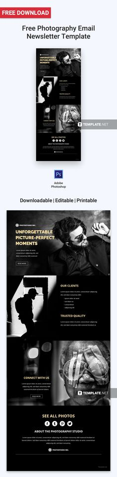Download Free Photography Email Newsletter Template, Professionally Designed Newsletters to Download, Customize & Email. Easily Editable in Html5, Adobe Photoshop (psd), Illustrator (.ai), Indesign, Microsoft Word (.doc), Publisher (.pub ) Outlook.  #FreeEmailNewsletterdesigns #FreeTemplates #Freedesigns #EmailNewsletter #freeEmailNewslettertemplates #adobe #googledocs #Illustrator #psd