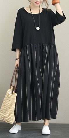 LOOSE QUILTED BLACK MAXI DRESSES WOMEN COTTON OUTFITS Q1339