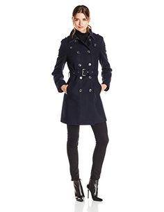 Tommy Hilfiger Womens Wool Neoprene Fashion Coat Navy Large ...