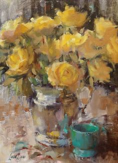 Yellow Roses by Leslie Dyas Floral Artwork, Fun Art, Yellow Roses, Impressionist, Flower Art, Still Life, Mustard, Shabby, Teal