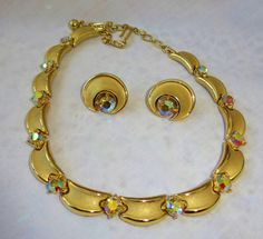 Vintage Trifari Necklace & Earrings Gold AB by vintagelady7