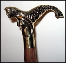 Victorian Walking Canes for Men   Wooden Walking Stick Cane with Brass Mermaid Handle $29.99