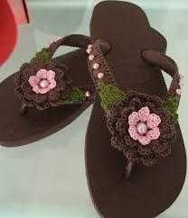 chinelos havaianas decorados com croche - Pesquisa Google