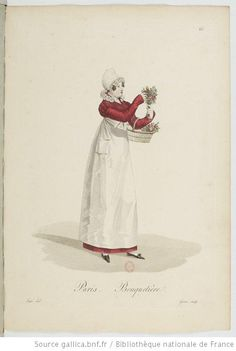 """Flower Seller, Paris"" Handcolored copperplate engraving by Gatine after an illustration by Louis-Marie Lante from Tradeswomen of Paris, Paris, (real flowers or artificial? Regency Dress, Regency Era, Historical Costume, Historical Clothing, French Flowers, Real Flowers, Vintage Outfits, Vintage Fashion, Federal"
