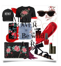 """Be wild in Red"" by kaoriihayashi on Polyvore featuring Brewster Home Fashions, Maybelline, Sisley, Topshop, RetroSuperFuture, SUGARFIX by BaubleBar, Jennifer Zeuner, Casetify, OPI and Elizabeth Arden"