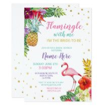 Aloha Bridal Shower Flamingo Gold Invite