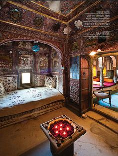 Historical architecture 19th century home in India from AD India  - NOTE the PILLOWS ON THE FLOOR