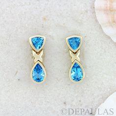 """14kt bezel set trillion and tear drop X post dangle earrings. - 14kt Gold - Blue Topaz - Approx 7/8"""" in Size"""
