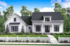 """<ul><li>There's no shortage of curb appeal for this beautiful 3 bedroom modern farmhouse plan with bonus room and bath (giving you potentially 4 bedrooms).</li><li>The beautiful formal entry and dining room open into a large open living area with raised ceilings and brick accent wall.</li><li>The spacious kitchen has views to the rear porch and features an island (3'8"""" by 6') with eating bar as well as a large pantry. &l..."""