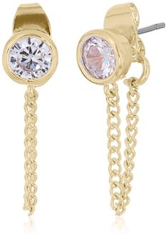 Jessica Simpson Cubic Zirconia Front To Back Gold Earrings. Made in China. cz front to back earring. Imported.