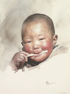 *Liu Yunsheng (aka Yung Sheng or 刘云生) was born in 1937 in Beijing (China) Watercolor Artists, Watercolor Portraits, Watercolor And Ink, Watercolor Paintings, Portrait Sketches, Portrait Art, Portrait Paintings, Fruit Painting, Painting People