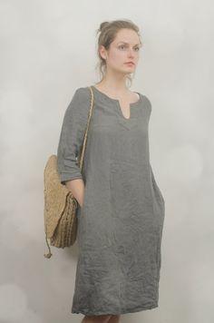 vestido túnica de lino Domingo medida longitud | Etsy