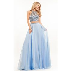 Rachel Allan 7098 Prom Long Dress Long Halter Sleeveless ($398) ❤ liked on Polyvore featuring dresses, gowns, apple, formal dresses, long gowns, fitted prom dresses, blue gown, long slip and two piece prom dresses