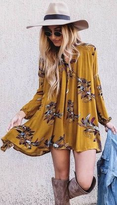 Stitch Fix May 2017! Love this boho inspired look - super cute long sleeve floral mustard dress, knee boots and fedora. Adore the 70's inspired look! Get fabulous styles just like this today from STITCH FIX! Simply click the picture and sign up today. Stitch Fix Spring Summer Fall 2017 #StitchFix #Sponsored