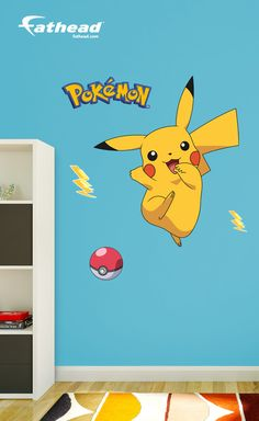 Add some fun adventure to the walls of your child's room with these Pokémon Pikachu removable vinyl wall decals from Fathead. SHOP wall graphics and wall murals at  http://www.fathead.com/kids/pokemon/pikachu-wall-decal/ | DIY Kids Fun Bedroom Decor Ideas | Boys + Girls Bedroom Wall Art Decor