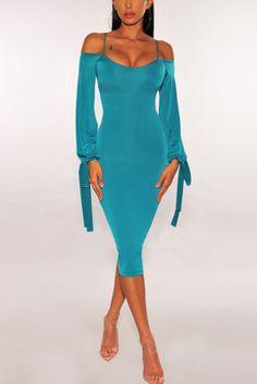 Sexy Spaghetti Strap Tight-Fitting Hip Blue Dress Sexy Dresses, Blue Dresses, Beautiful Dresses, Fashion Dresses, Yellow Long Sleeve Dress, Yellow Dress, Yellow Fashion, Sleeve Styles, Plus Size Outfits
