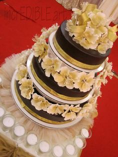 Touch of Gold- Chocolate wedding cake  Cake by Rumana Jaseel