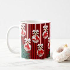 Rodeo Ornaments On Red Holiday Mug/Cup Coffee Mug - Xmas ChristmasEve Christmas Eve Christmas merry xmas family kids gifts holidays Santa