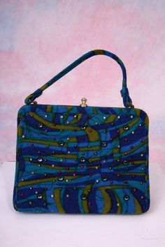 Vtg 60's Fabric Psychedelic Jeweled Soure New York Snap Closure Handbag    **CLOSING –SEE VINTAGE PURSE LOVE 2