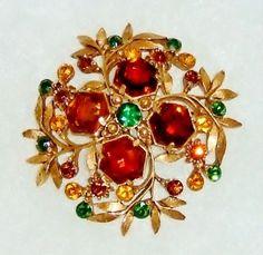 1189~Vtg Signed Florenza Antique Goldtone Amber Green Faceted Rhinestone Brooch* #Florenza