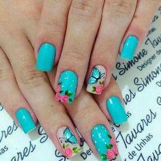 Fall Natural Nails Acrylic And Gel Polish Nail Designs Pretty fall natural nails - Fall Nails Cute Spring Nails, Spring Nail Art, Nail Designs Spring, Nail Polish Designs, Nail Art Designs, Gel Polish, Butterfly Nail Art, Floral Nail Art, Cute Nail Art