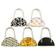 kilofly Purse Hook [Set of 5] - Foldable - Zoey, with Gift Pouch by kilofly purse hook. $28.79. kilofly Purse Hook can hang up your bag and have it placed next to you when you are dining outside. Keeping it clean and safe.. Each purse hook comes with a kilofly gift pouch; Great gift for all ladies and girls. Size: 5.5 x 6 x 1 cm / 2.2 x 2.4 x 0.4 inch (W x L x H) when folded; 10 cm / 4 inch (Length) to unfolded.. Foldable, easy to pack and store. Beautiful adornment for ...