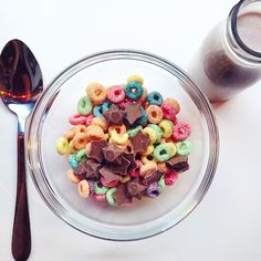Instagram media by tattydevine - We decided on Fruit Loops, chocolate stars and chocolate milk for breakfast! Best way to start the day, we think. Welcome to the neighbourhood, Cereal Killer Cafe! #tattydevine #cerealkillercafe