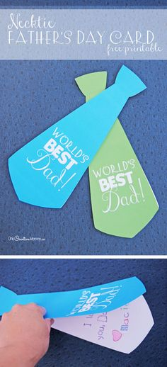 I love this cute necktie Father's Day card! {free printable from OneCreativeMommy.com}