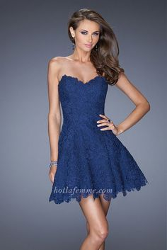 La Femme 19160 Navy Strapless Sexy Mini Short Bridal Dresses Cheap