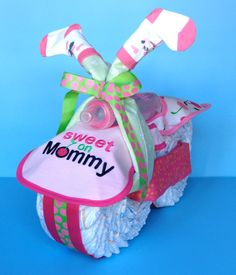 Diaper Motorcycle Girl Diaper Cake by PamperedBabyCreation, $52.00