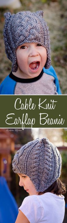 a free pattern for this great square cable knit beanie with earflaps