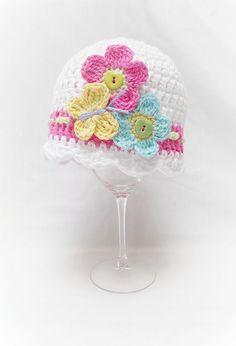 FLUTTERBY FLOWERS CROCHET HAT Pattern by Kerry Jayne Designs