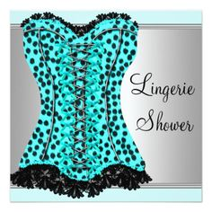 "Elegant teal blue leopard corset high heel shoe lingerie bridal shower party invitation. This pretty teal blue leopard and high heel shoe party invitation is easily customized for your event by simply choosing the ""Customize it!"" button to begin adding your event details, font style, font size & color, and wording. Please note - all of the stickers, cards and invitation designs you will find on Zazzle are printed graphics with no actual jewels, bows, raised, embossed, or added parts or…"