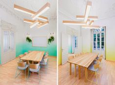Spanish design studio Marquespacio has imagined the entire interior decoration of the school Languages, located in Valencia. On a 183 square meters surface School Furniture, Home Furniture, Furniture Design, Ombre Painted Walls, Ombre Walls, Interior Design Presentation, Colour Architecture, Valence, Sweet Home Alabama