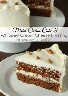 This tender, moist carrot cake is spicy and delicious. Rich, whipped cream cheese frosting with a hint of lemon brings it all together.  Both the cake and frosting are easy baking projects for any level of experience.