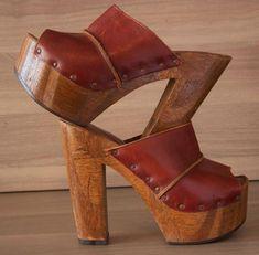 7e9f60b77f1c Vintage Cherokee 70 s Leather Platform Hippie Boho Wedge Shoes Sandals Size  7  Cherokee  Platform