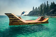 skateboarder Bob Burnquist collaborated with designers Jerry Blohm and Jeff King to construct a  free-floating skateboard ramp on Lake Tahoe, California.