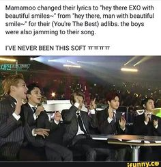 Mamamoo changing their lyrics so naturally on stage/ live is always a surprise ❤ Funny Kpop Memes, Exo Memes, Xiuchen, Baekyeol, You're Awesome, Amazing, Bts, Beautiful Smile, Mamamoo