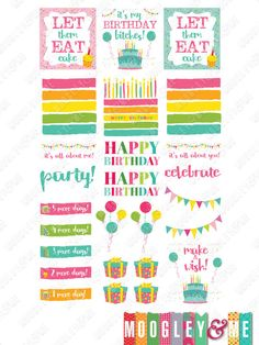 Happy Birthday Planner Stickers for your Horizontal or Vertical Erin Condren Life Planner, Happy Planner, or any planner! by MoogleyandMe on Etsy