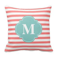 Shop Coral and Mint Stripes Monogram Throw Pillow created by heartlockedhome. Personalize it with photos & text or purchase as is!